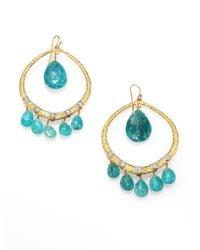 Alexis Bittar | Blue Amazonite Crystal Double Teardrop Drop Earrings | Lyst