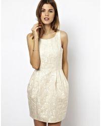 6087bef1373e ASOS A Wear Jacquard Tulip Dress in White - Lyst