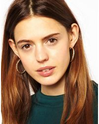 ASOS - Metallic Oval Plait Hoops Earrings - Lyst