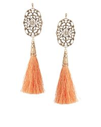 ASOS | Orange Filigree Tassel Earrings | Lyst