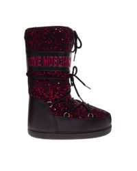 ASOS - Purple Love Moschino Red Sequin Moon Boots - Lyst