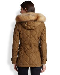Burberry Brit - Brown Jackston Quilted Furhooded Jacket - Lyst
