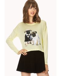 Forever 21 | Yellow Quirky Pug Hooded Top | Lyst