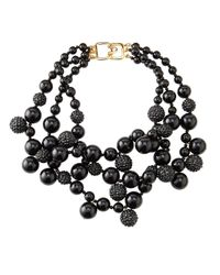 Kenneth Jay Lane | Pave Crystal Beaded Cluster Necklace Black | Lyst