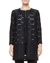 MILLY - Geometric Cocktail Coat Black - Lyst