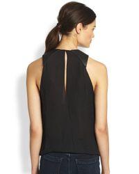 Ramy Brook | Black April Leather Silk Draped Blouse | Lyst