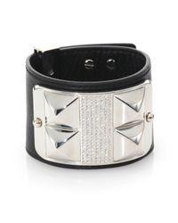 Rebecca Minkoff - Black Pave Studded Leather Wide Bracelet - Lyst