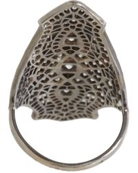 Stone | Metallic Diamond Oxidized White Gold Shield Ring | Lyst