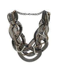 TOPSHOP | Gray Plaited Mixed Chain Necklace | Lyst