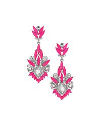 TOPSHOP | Pink Mixed Stone Drop Earrings | Lyst