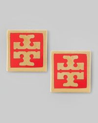 Tory Burch - Enamel Square Logo Stud Earrings Red - Lyst