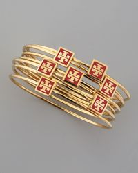 Tory Burch | Metallic Red Enamel Logo Square Bangles Set Of 7 | Lyst