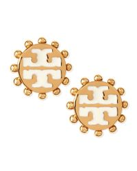Tory Burch - Metallic Winslow Enamel Tlogo Stud Earrings Ivory - Lyst