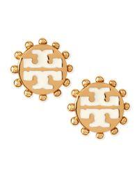 Tory Burch | Metallic Winslow Enamel Tlogo Stud Earrings Ivory | Lyst