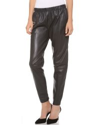 VINCE | Gray Wrap Seam Leather Pants | Lyst