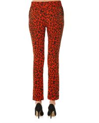 A.L.C. - Red Thompson Leopard Print Trousers - Lyst