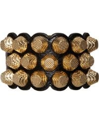 Balenciaga - Metallic Giant 12 Triple-Row Leather Bracelet - Lyst