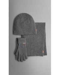 b9d06ca27b2 Lyst - Burberry Cashmere Ribbed Knit Hat Gloves and Scarf Set in ...