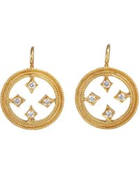Cathy Waterman - Metallic Diamond & Gold Filigree Circle Drop Earrings - Lyst