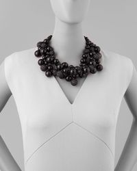 Kenneth Jay Lane - Pave Crystal Beaded Cluster Necklace Black - Lyst
