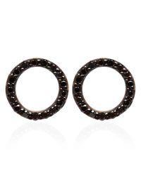 Kismet by Milka | Pink Rose Gold Black Diamond Circle Earrings | Lyst