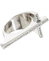 Lynn Ban | Metallic Diamond Cross Ring | Lyst