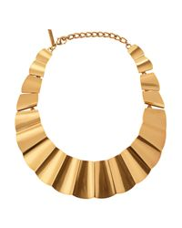 Oscar de la Renta - Metallic 22Karat Gold Plated Bib Necklace - Lyst