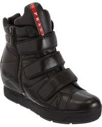Prada | Black Triple Strap Wedge Sneaker | Lyst