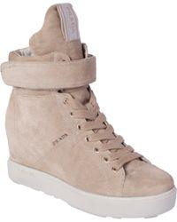 Prada - Natural Suede High Top Wedge Sneaker - Lyst