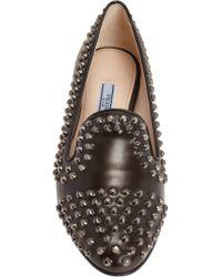 Prada - Black Studded Round Toe Loafer for Men - Lyst