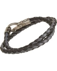 Tod's - Gray Large Leather Bracelet for Men - Lyst