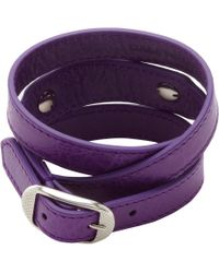 Balenciaga - Purple Arena Giant Nickel Double Tour Bracelet - Lyst