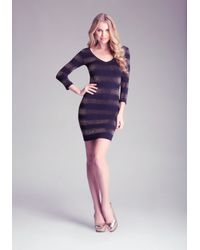 Bebe - Purple Metallic Stripe Dress - Lyst