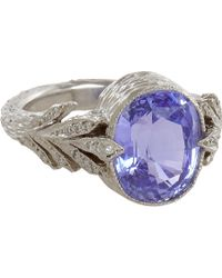 Cathy Waterman | Blue Sapphire Leafside Ring | Lyst