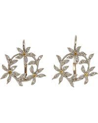 Cathy Waterman - Metallic Diamond Circle Of Flowers Earrings - Lyst