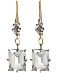 Cathy Waterman | Green White Topaz & Diamond Leaf Drop Earrings | Lyst