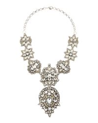Deepa Gurnani - Metallic Silver Bib Necklace - Lyst