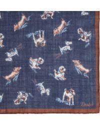 Drake's - Blue Dog Print Pocket Square for Men - Lyst