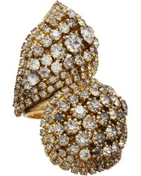 Erickson Beamon | Metallic 'stratosphere' Faux Pearl Crystal Floral Cluster Ring | Lyst