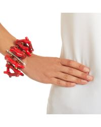 Fenton - Red Crimson Coral Stacked Cuff - Lyst