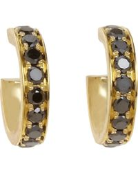 Finn | Yellow Black Diamond Huggie Earrings | Lyst