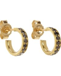 Finn - Yellow Black Diamond Huggie Earrings - Lyst
