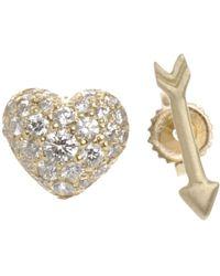 Finn - Metallic Pavé Diamond & Gold Heart & Arrow Studs - Lyst