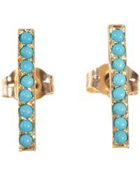 Jennifer Meyer | Blue Turquoise Long Bar Stud Earrings | Lyst