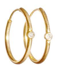 Jennifer Meyer - Metallic Diamond & Gold Hoop Earrings - Lyst