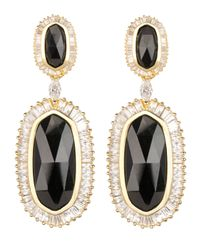 Kendra Scott | Metallic Baguette-Trim Oval Drop Earrings | Lyst