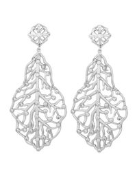 Kendra Scott | White Pave Cz Branch Hourglass Earrings | Lyst