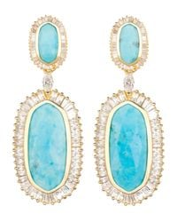Kendra Scott - Blue Baguette-trim Oval Drop Earrings - Lyst