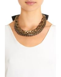 Lanvin - Metallic Crystal Brass Gloria Necklace - Lyst