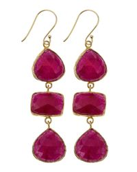 Marcia Moran - Purple Agate Threedrop Earrings Ruby - Lyst